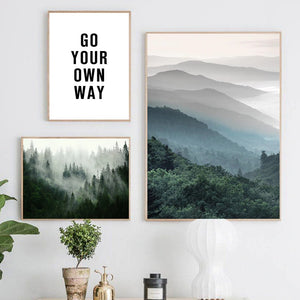 Scandinavian Forest Mists Scenery Canvas Print