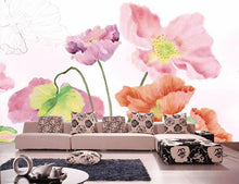 Load image into Gallery viewer, Pastel Poppies Mural Wallpaper (SqM)
