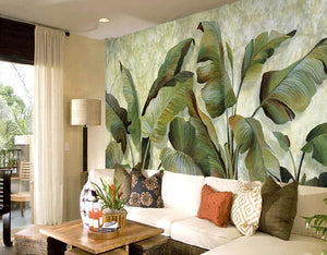Retro Banana Leaves Mural Wallpaper (SqM)