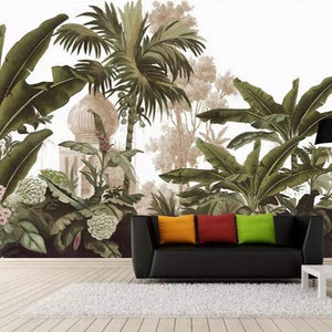 Retro Tropical Garden Mural Wallpaper (SqM)