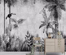 Load image into Gallery viewer, Tropical Black & White Mural Wallpaper (SqM)
