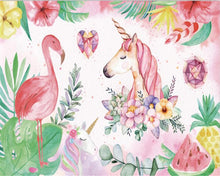 Load image into Gallery viewer, Unicorn Flamingo Mural Wallpaper (SqM)