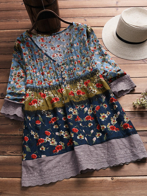 Floral Printed Buttoned Up Long Sleeve Blouse