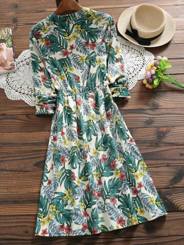 Floral Printed Sweet A-Line Corduroy Dress