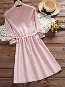 Sweet Flower Emboridery A-Line Long Sleeve Dress