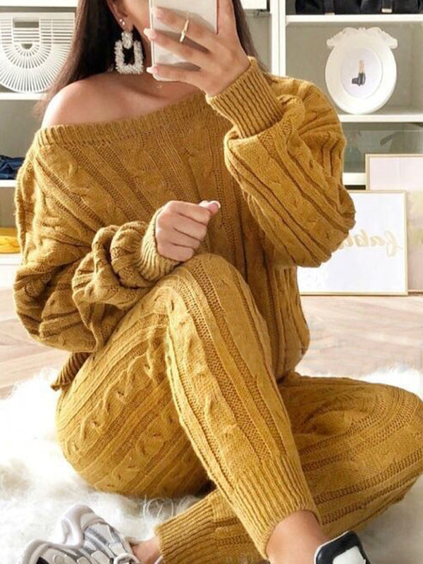 Two Piece Warm Knit Wears Sets Jumpsuits