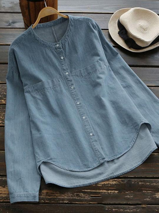 Band Collar Loose Fitting Single Breasted Plain Blouses