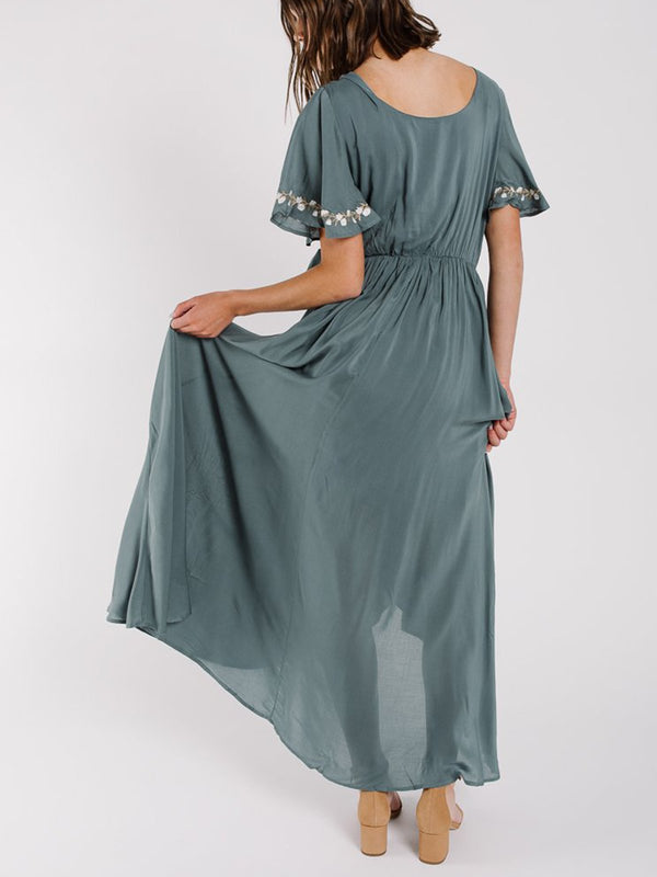 Surplice Neck Blue Asymmetric Embroidered Maxi Dress