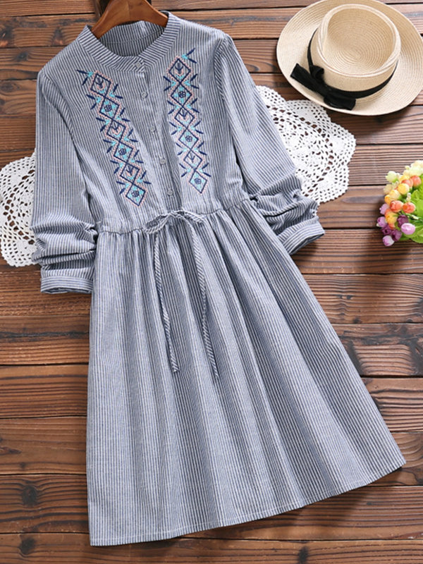 Tribal Embroidery Long Sleeve Striped Dress
