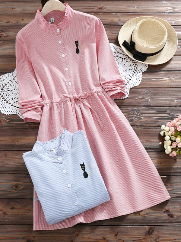 Cute Cat Embroidery Long Sleeve Dress