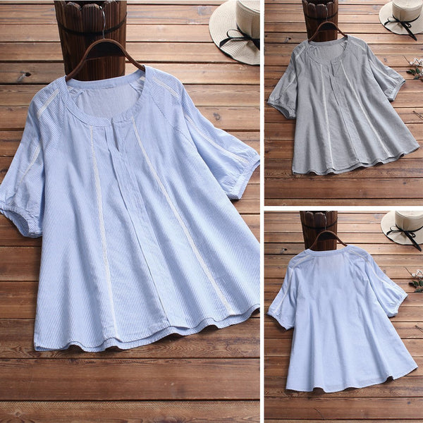 Casual Stripe High Low Hem Patchwork Plus Size Shirt
