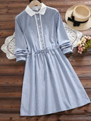 Cute Striped Long Sleeve Dress