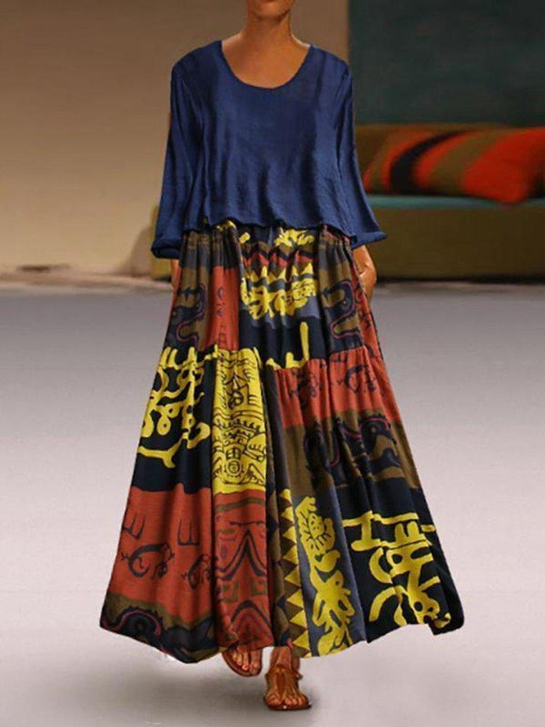 Two Pieces Ethnic Print Vintage Maxi Dress For Women