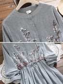 Floral Embroidery Long Sleeve Sweet Dress