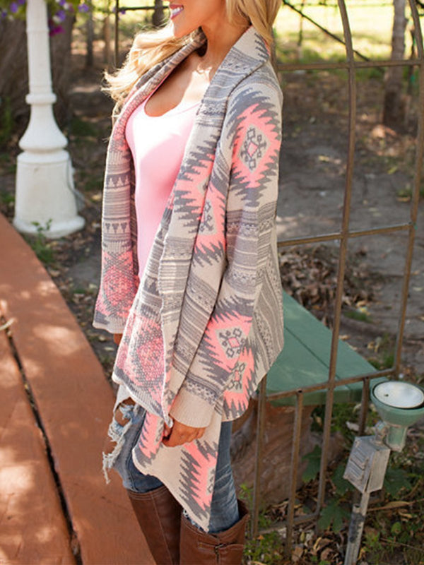 Jacquard Casual Long Sleeve Cardigan