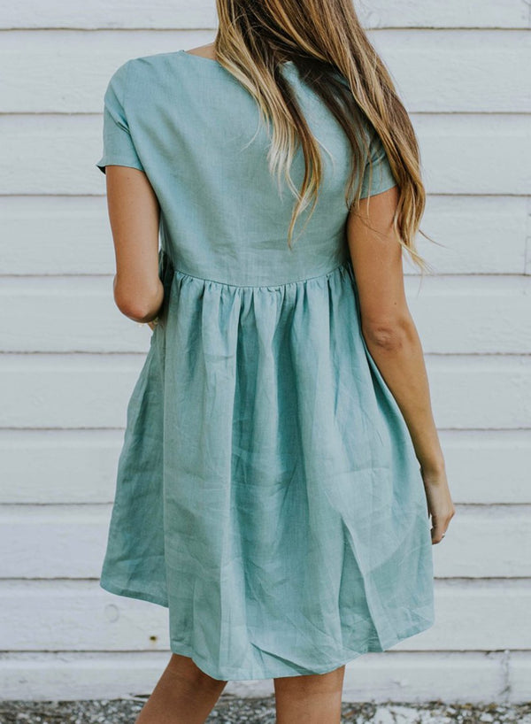 Round Neck Short Sleeve Babydoll Dress