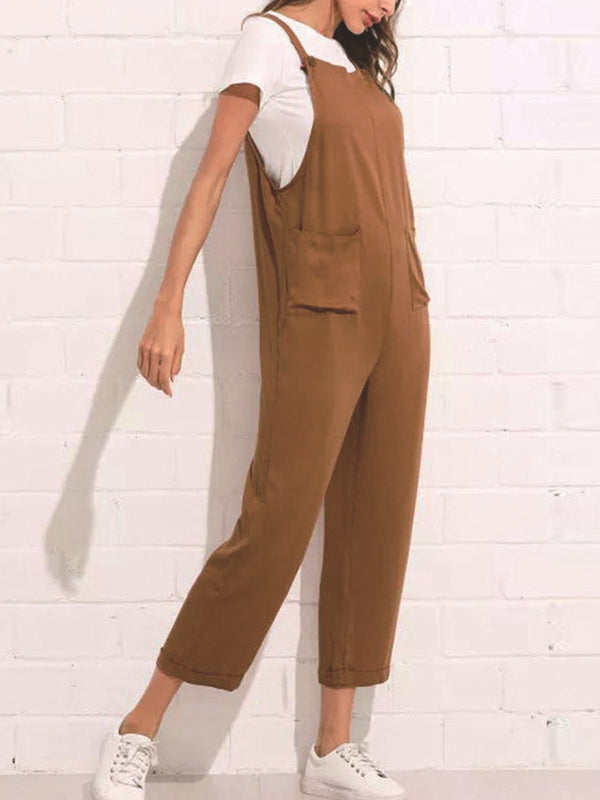 Khaki Sweet Appliqued Jumpsuits