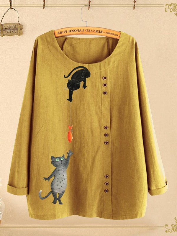 Button Cartoon Cat Print Long Sleeve Blouse