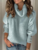 PLUS SIZE LADY SOLID PLAIN CASUAL SWEATER