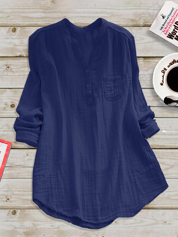 Casual Paneled Stand Collar Linen Plus Size Blouse - fashionnana