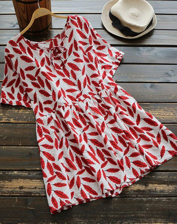 Leaf Prints Short-Sleeved Cotton Blouse