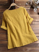 3/4 Sleeve Round Neck Solid Color Pullover Blouse