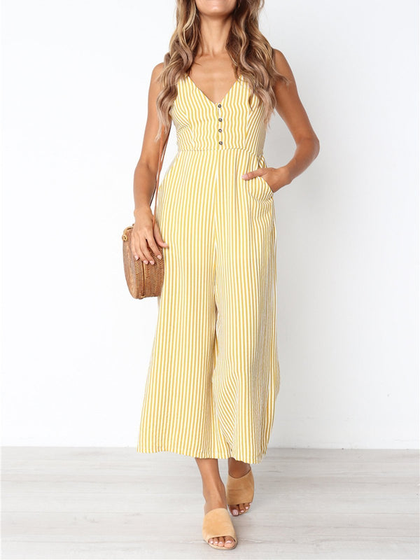 Striped Printed Casual Sleeveless Jumpsuits