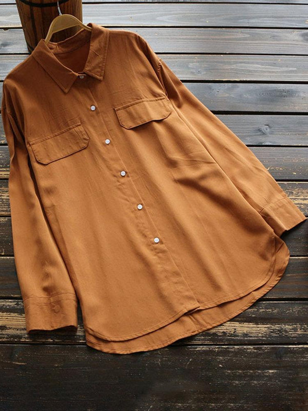 Vintage Solid Color Lapel Long Sleeve Shirt