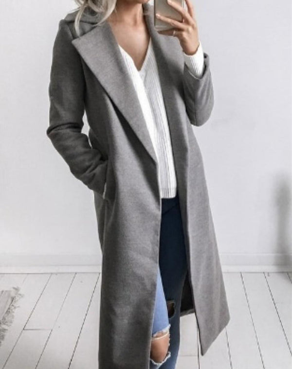 Shawl Collar Solid Middle-calf  Length Pocket Coat