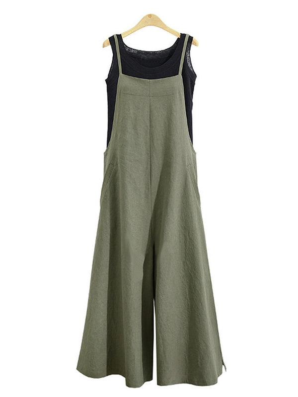 Pockets Casual Loose Solid Jumpsuit