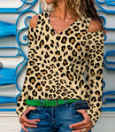 Leopard-Print Long Sleeve Sexy T-Shirt