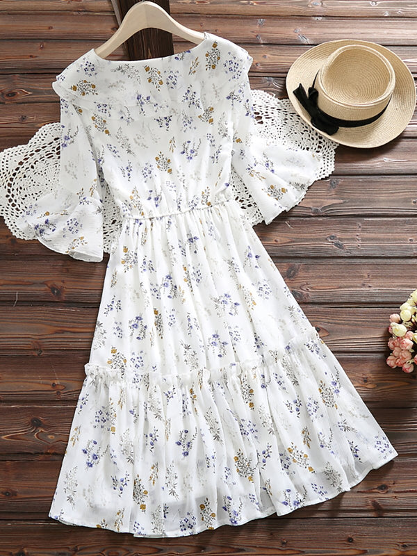 Sweet Half Sleeve Floral Dress