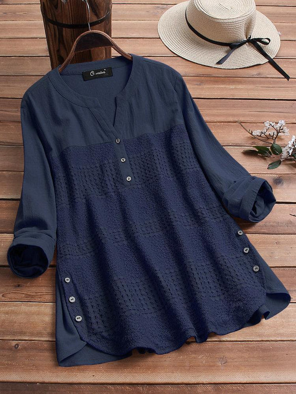 Casual Patchwork Button Hem Long Sleeve Plus Size Blouse