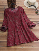 Vintage Floral Print Pleated Long Sleeve Plus Size Blouse