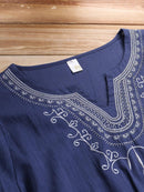 Ethnic Style Casual Embroidered Half Sleeve Blouses