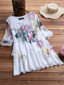Vintage Patchwork Print Fake Two-Piece Half Sleeve Plus Size Blouse
