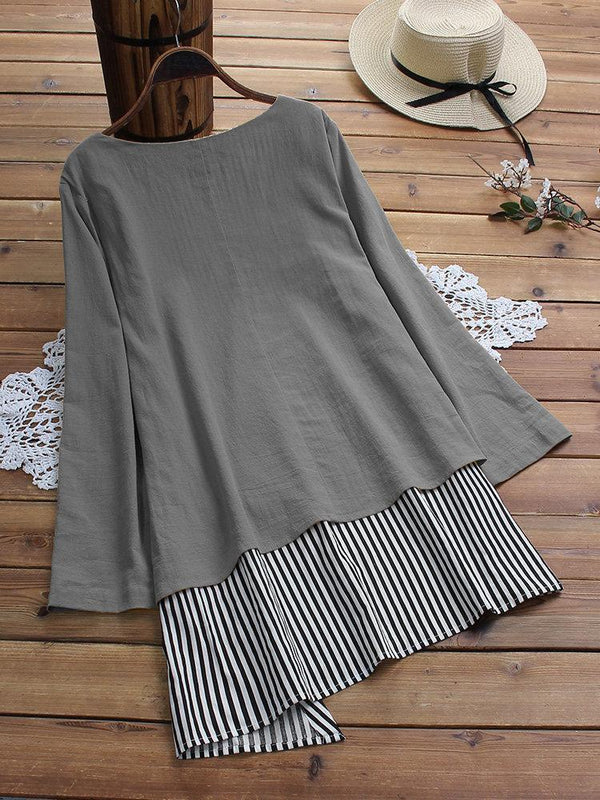 Patchwork Striped Fake Two Piece Long Sleeve T-Shirt