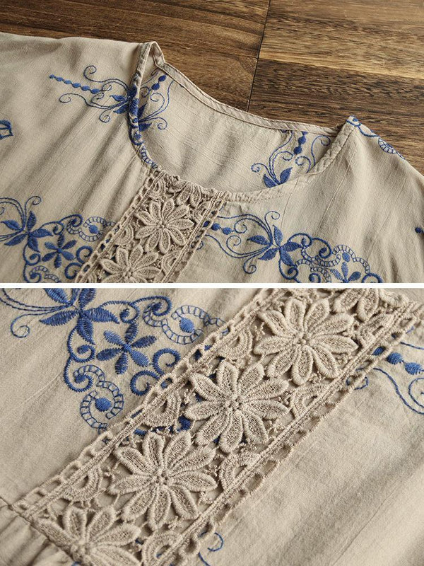 Women Crochet Lace Patchwork Embroidered Vintage Blouse