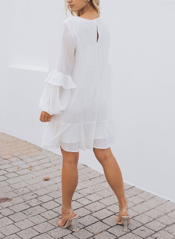 White O-neck Stripe Sheer Frill Sleeve Pleated Dress