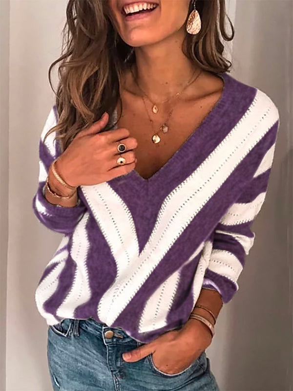 Winter V Neck Long Sleeve Striped Casual Sweaters