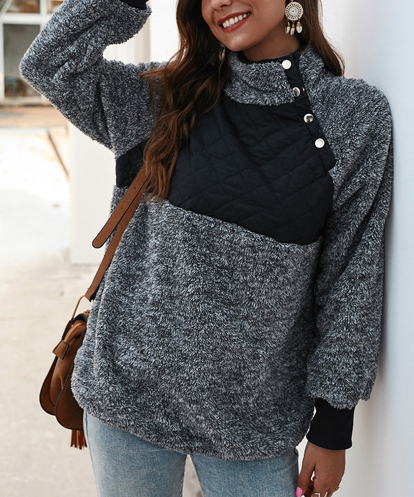 Long Sleeve Shift Stand Collar Sweatshirt
