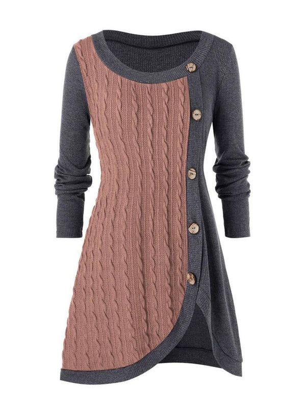 Elegant Large Size Women's Round Neck Button Decoration Irregular Stitching Knitted Sweater