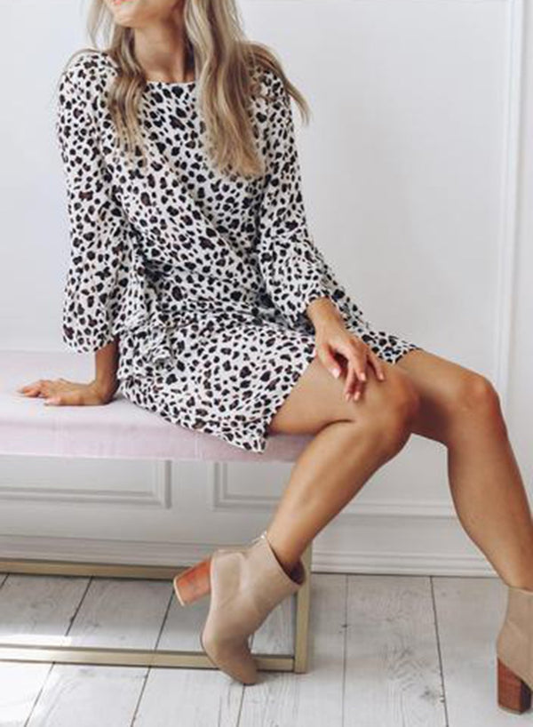 Frill Sleeve Leopard Print Dress
