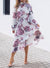 Copy of Lilac Floral Print High Frill Neckline Pleated Dress