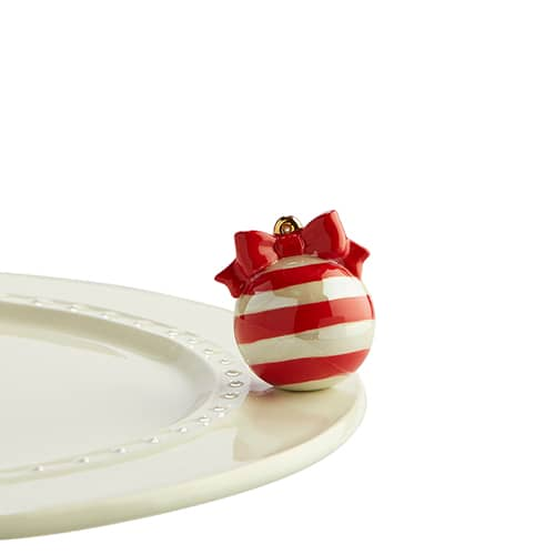Nora Fleming Mini - Red and white Striped Ornament