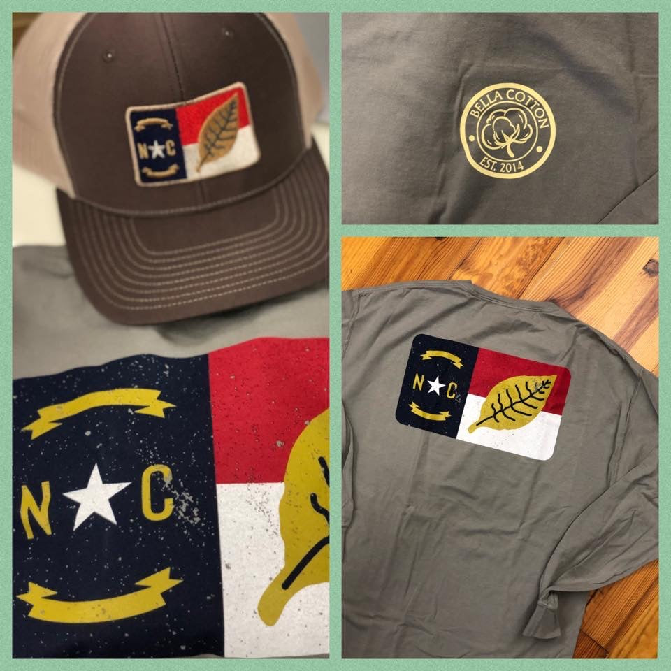 Long Sleeve NC Flag/Tobacco Leaf Tee