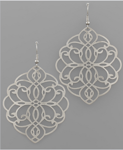 Filigree Marquise Earrings - Silver