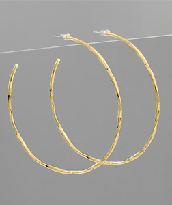 Large Gold Hammered Hoops -65mm