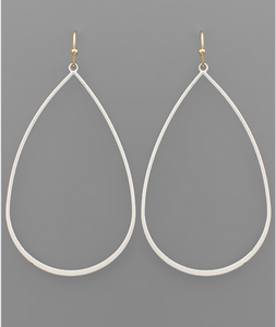 Soft Finish White Tear Drop Earrings