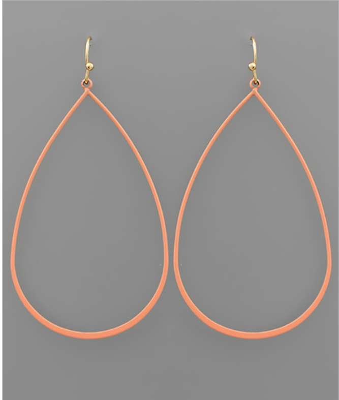 Soft Finish Coral Tear Drop Earrings